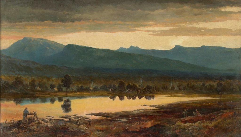 Oil painting of the Grampians at sunset, with a miner at work in the foreground