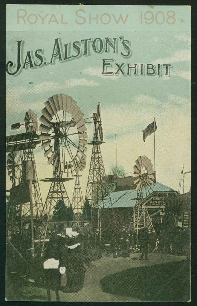 Colour postcard features massed windmills on display at Royal Melbourne Show