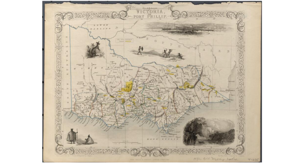 Map of Victoria showing county boundaries, gold diggings marked in yellow, rivers and towns. Relief shown by hachures.