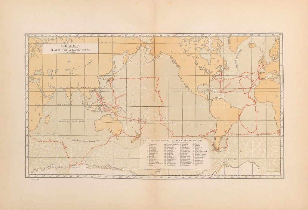 Coloured map of world showing route of the Challenger
