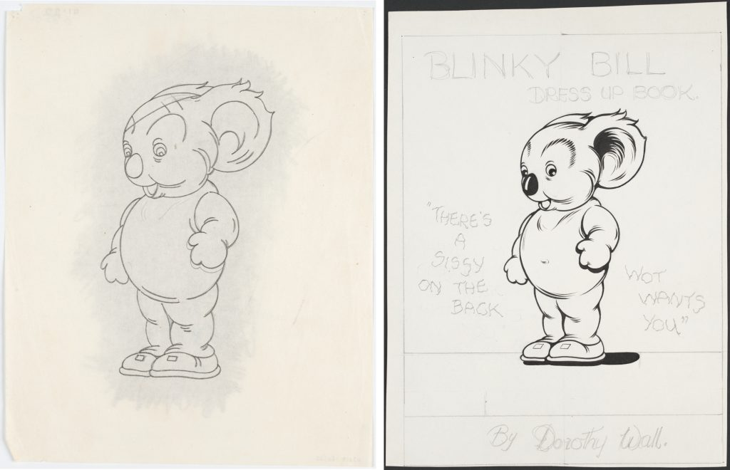 Two drawings, designs for Blinky Bill dress up book, one is in grey pencil and one is in black pen and ink