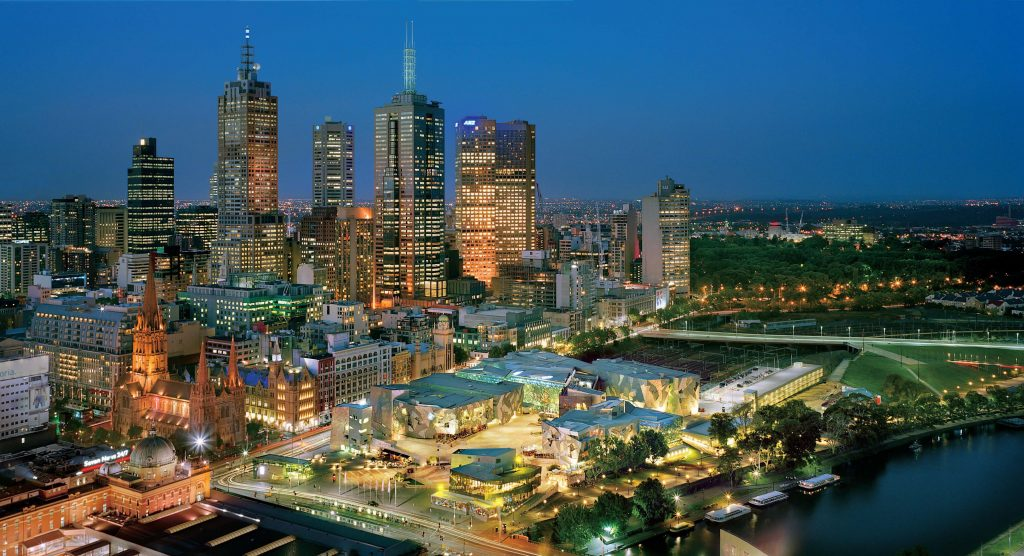 Aerial view of Melbourne's night city skyline