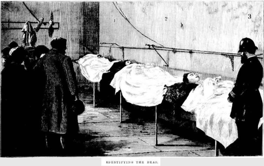Morgue scene with police, viwers and bodies