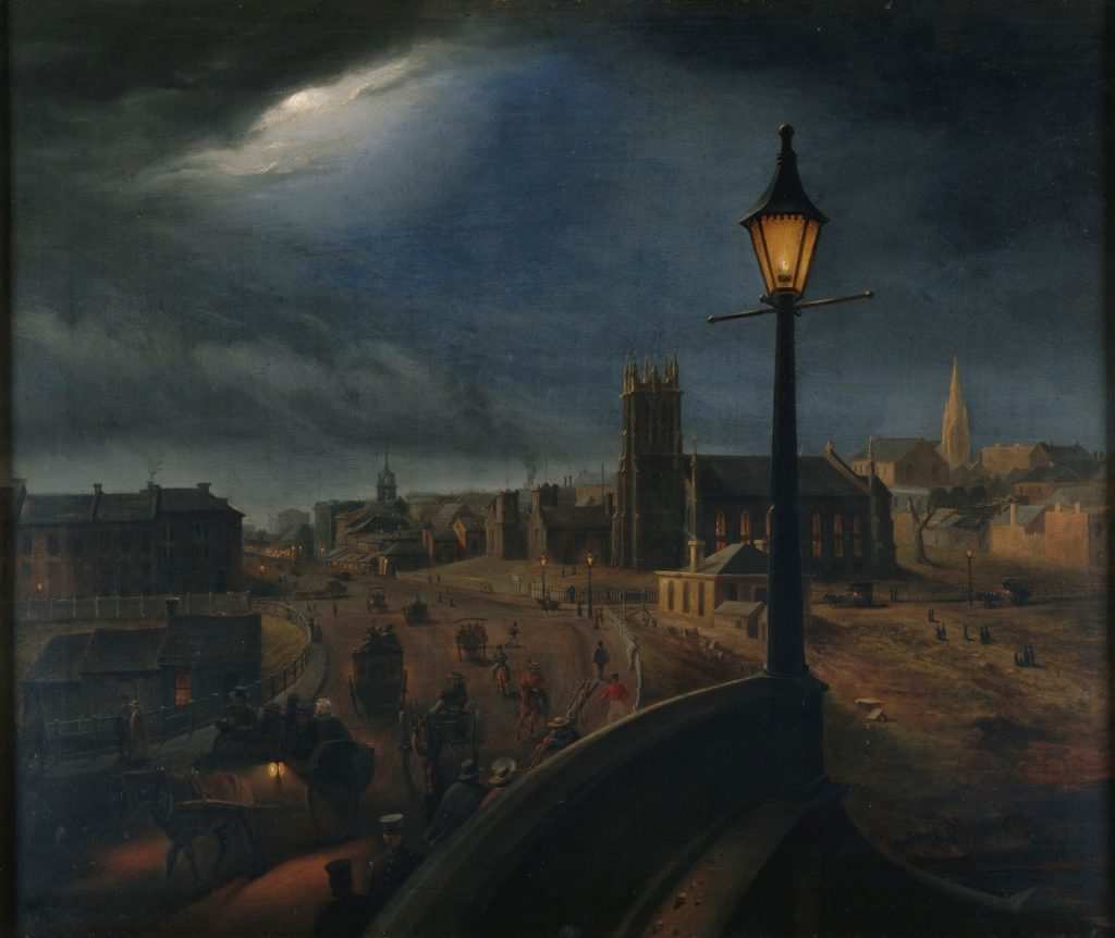 View of a moonlit night looking over Prince's Bridge with the morgue on the left and St Pauls in the background.