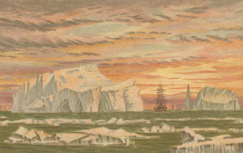 Colour illustration of the Challenger ship sailing through icebergs in Antarctic waters