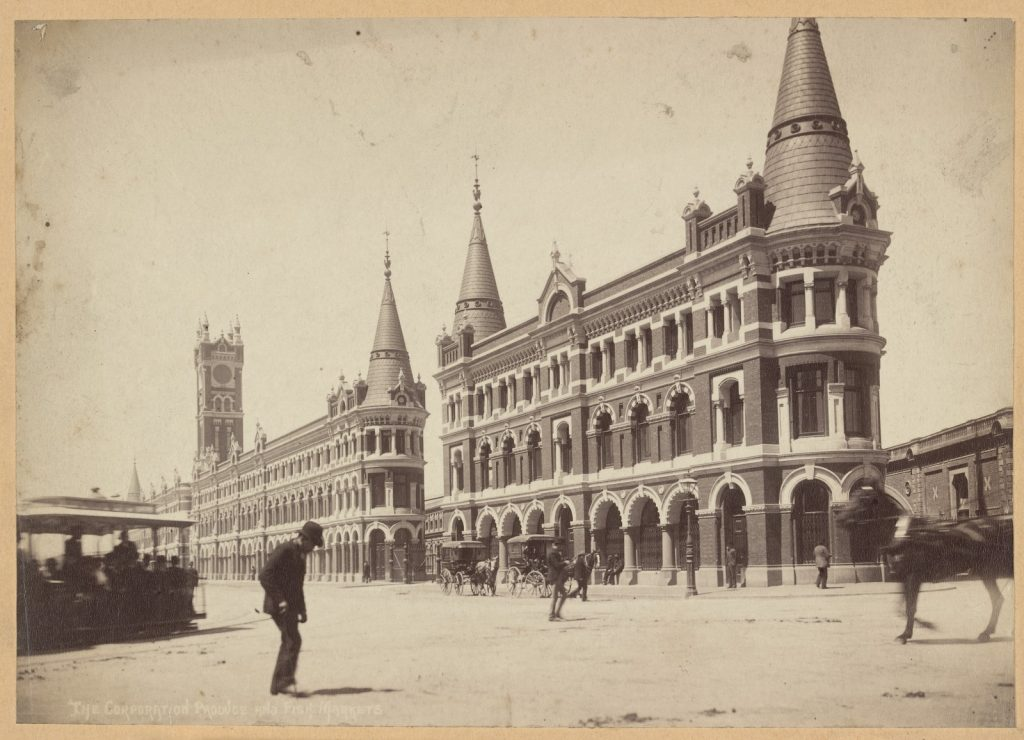 Photograph of Flinder's Street showing Melbourne's fish market buildings
