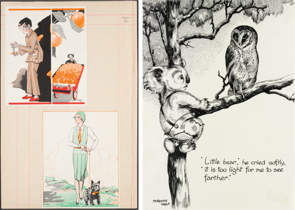 Two images: left, illustrations for newspapers. Right, black pen and ink drawing of Blinky Bill and an owl in a gum tree