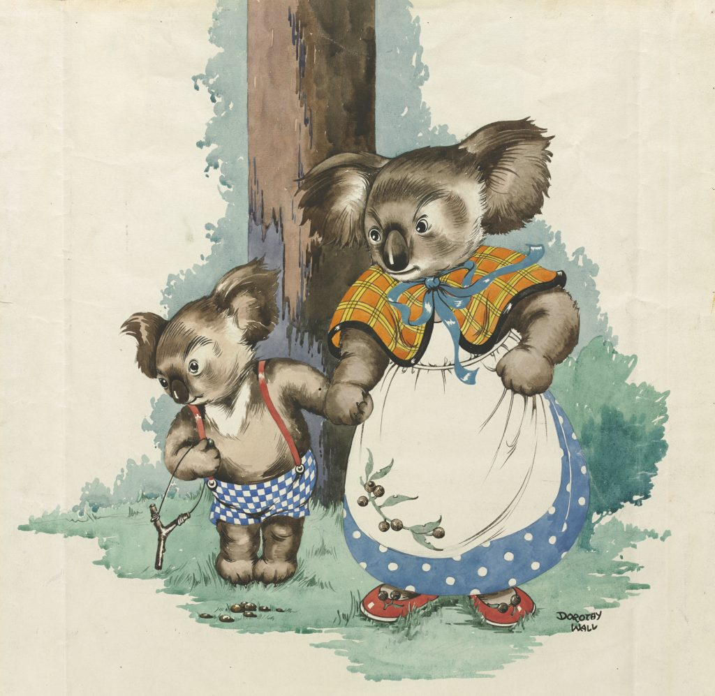 Hand-coloured illustration of Blinky Bill and Mrs Koala holding hands