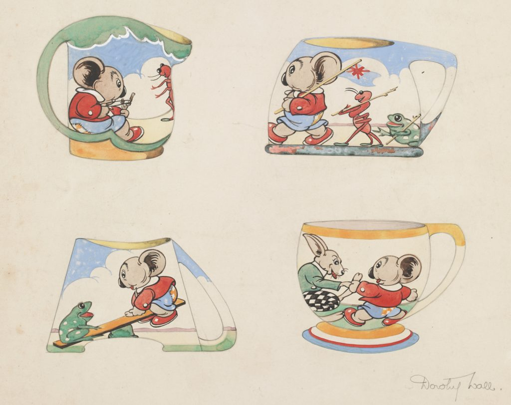 Hand-coloured illustrations of designs for Blinky Bill mugs