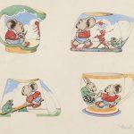 Hand-coloured illustrations of designs for Blinky Bill mugs