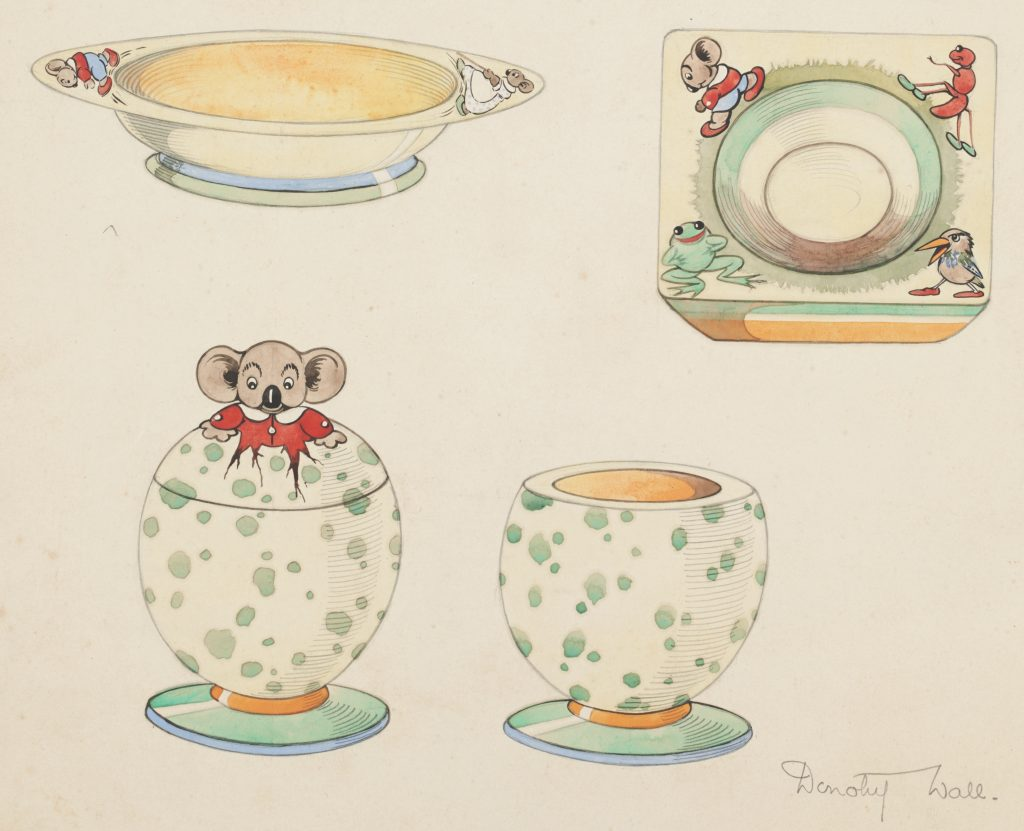 Hand-coloured illustrations of designs for Blinky Bill plates and egg-cup