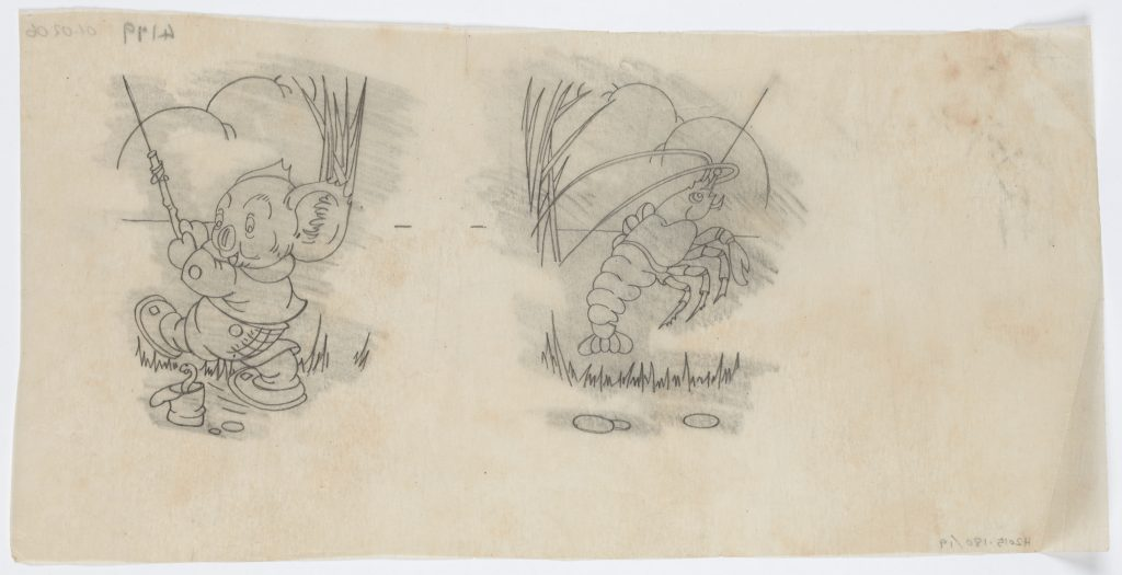 Grey pencil drawing of Blinky Bill catching a yabby