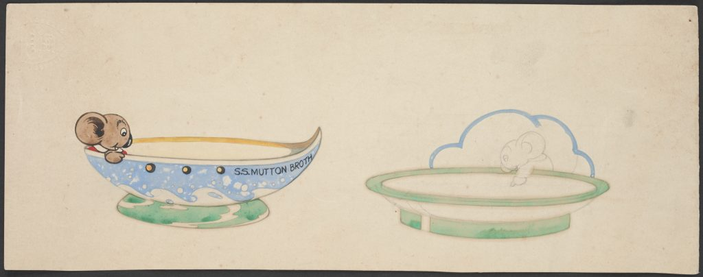 Hand-coloured illustrations of designs for children's bowl