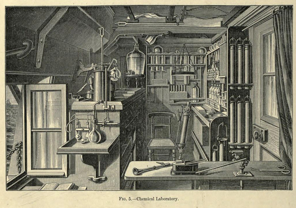 Illustration of the interior of a chemical laboratory