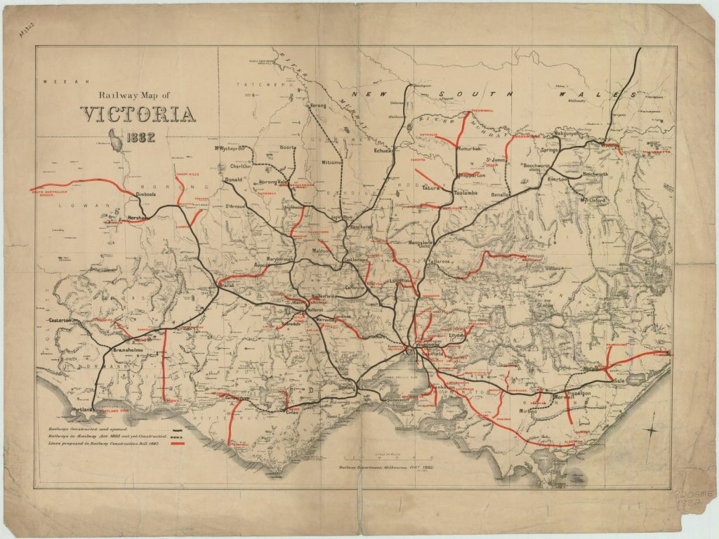 Map showing railway lines in Victoria, 1882.