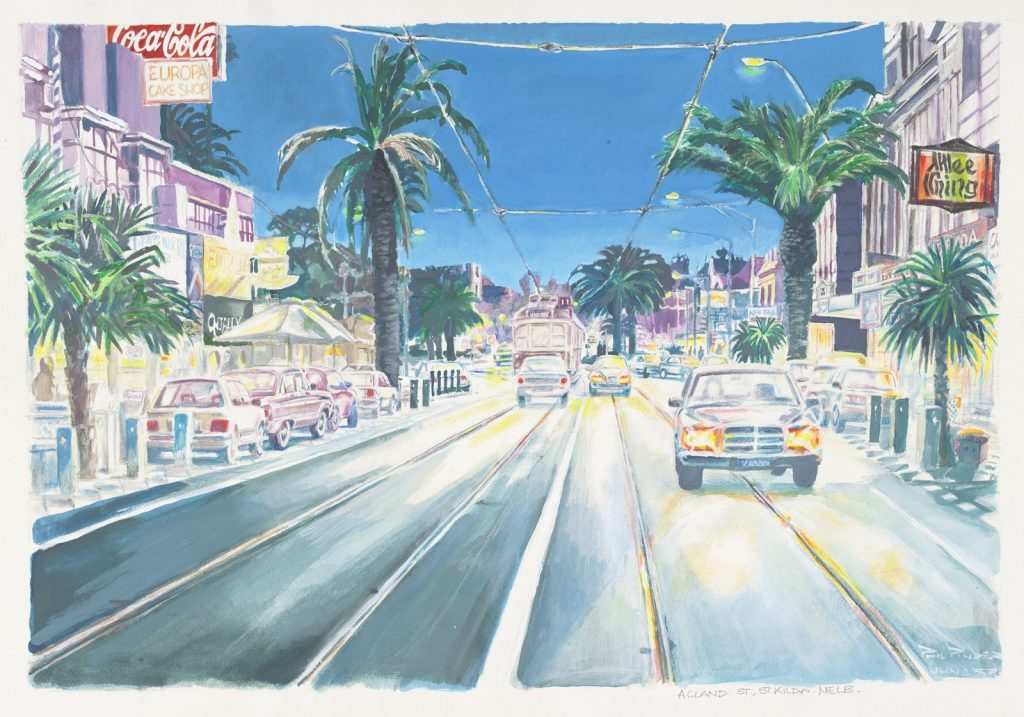 Painting of a night scene of Acland Street, St Kilda, with a focus of the ashphalt and vehicles, with the shopfronts and palm trees on both sides of the road