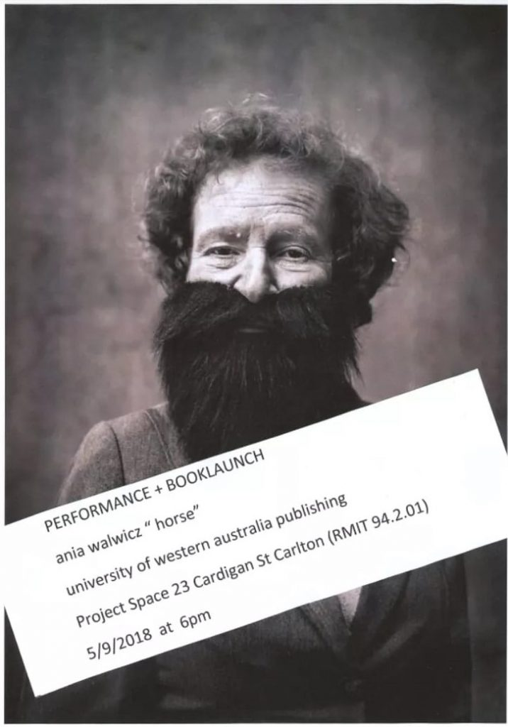 Poster advertising launch of Ania Walwicz's work 'Horse'. Ania is pictured wearing a beard