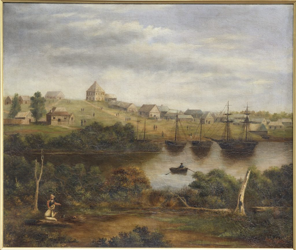 Shows Batman's Hill, later to become the site of Spencer Street Railway Yards, and sailing ships. This work shows Melbourne from the south bank of the Yarra River, looking across from the turning basin.