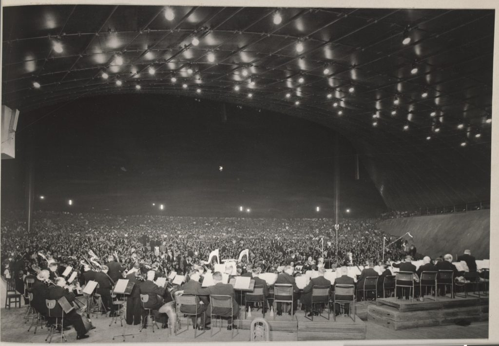 Photograph: What the orchestra saw - looking out from the stage at the 30,000 people who came to the magnificent Opening Night of the Sidney Myer Music Bowl, 1959