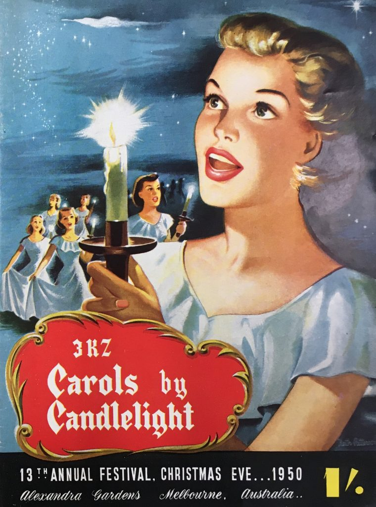 Carols by Candlelight 1950 programme cover, depicting blonde woman with candle
