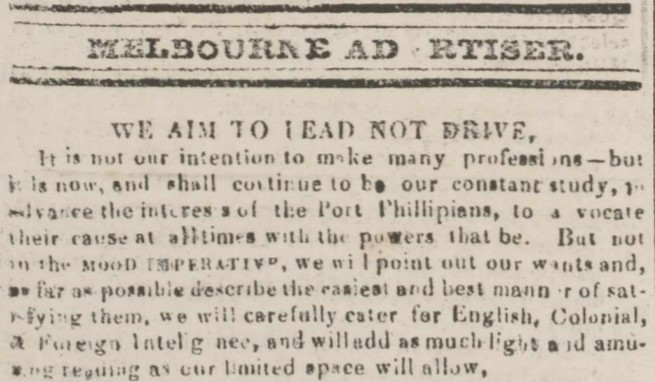 Excerpt from print edition of the Melbourne Advertiser featuring the motto 'We aim to lead, not drive.'