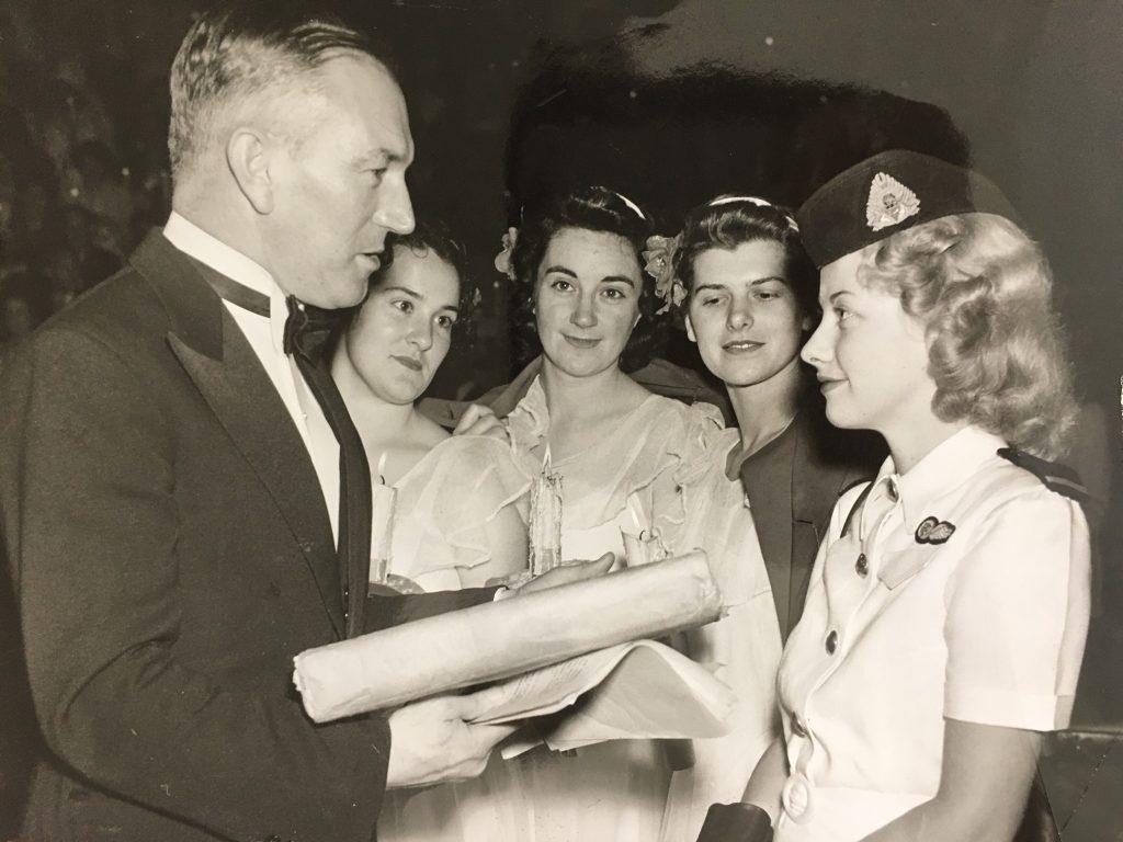 Norman Banks at the 1949 carols, possibly presenting an award