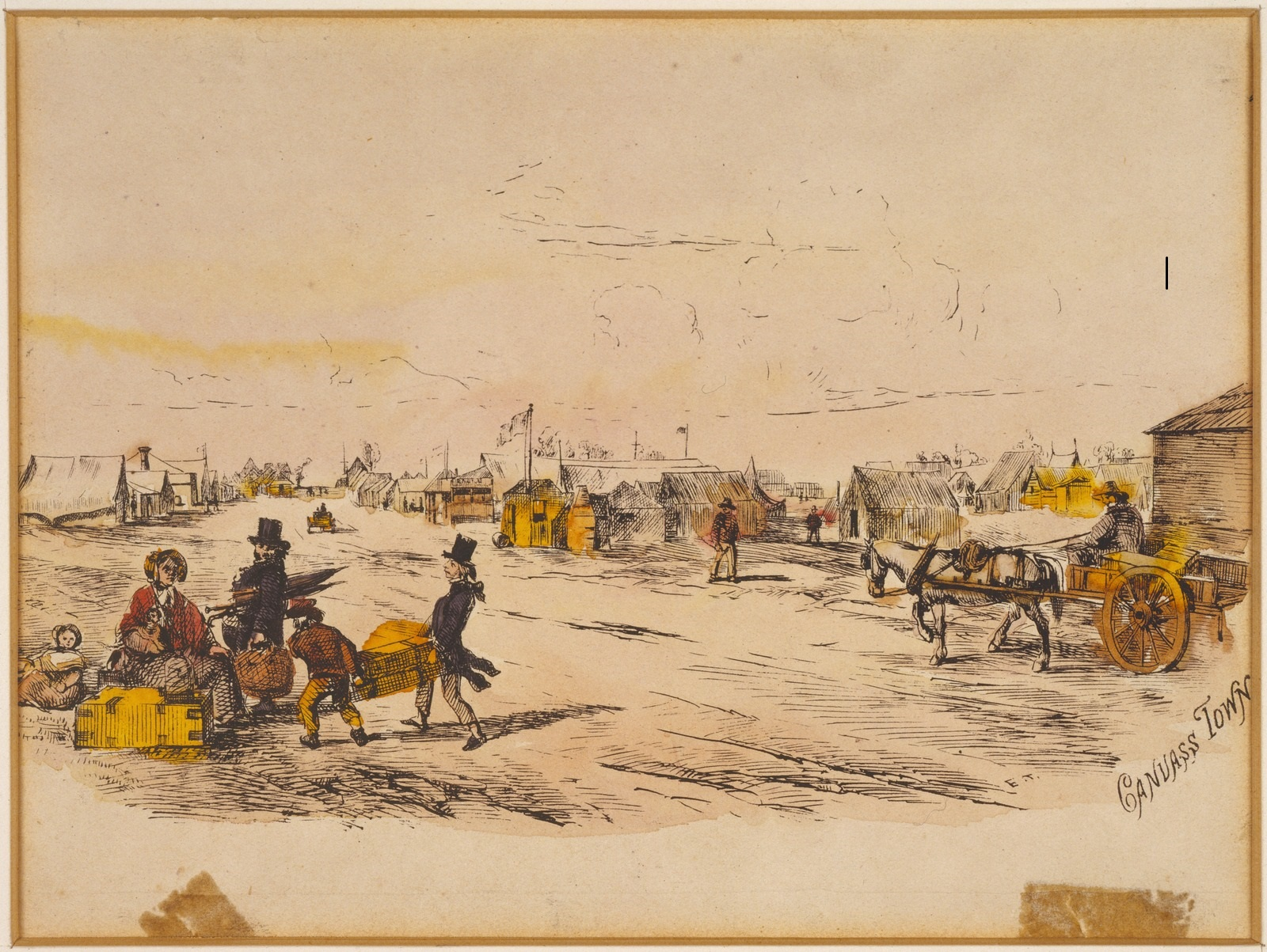 Painting of newly arrived immigrants in Canvas Town
