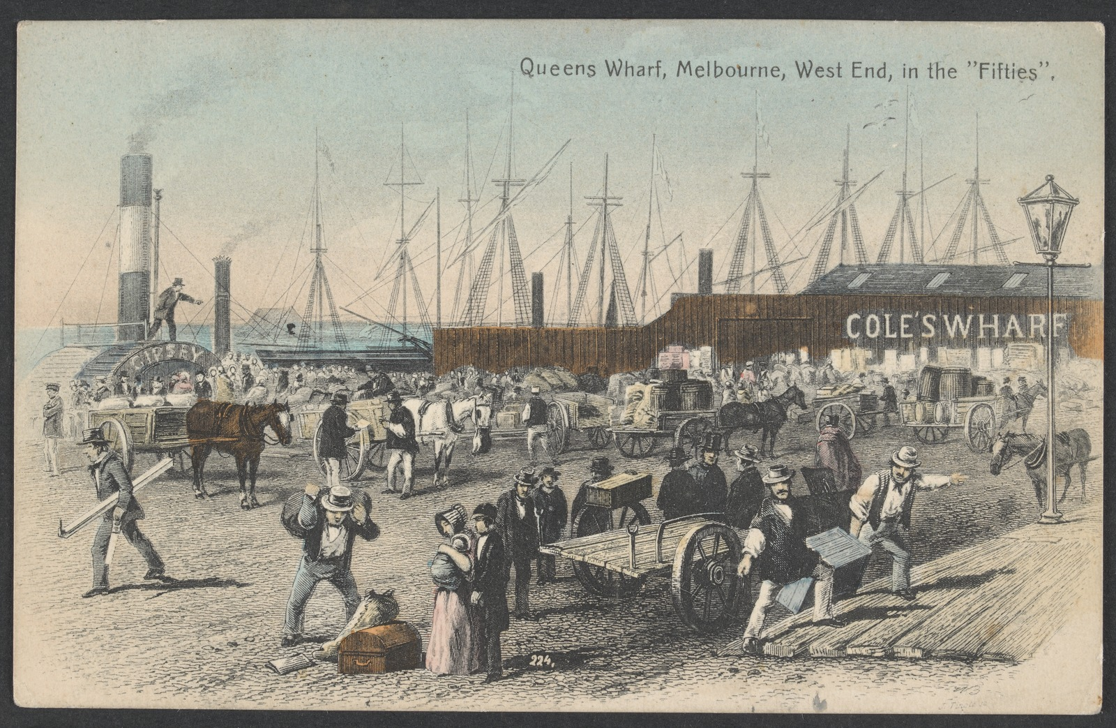 Watercolour painting depicting Queens wharf in the 1850s