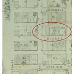 Excerpt from Melbourne CBD grid map shows tents sites in CBD