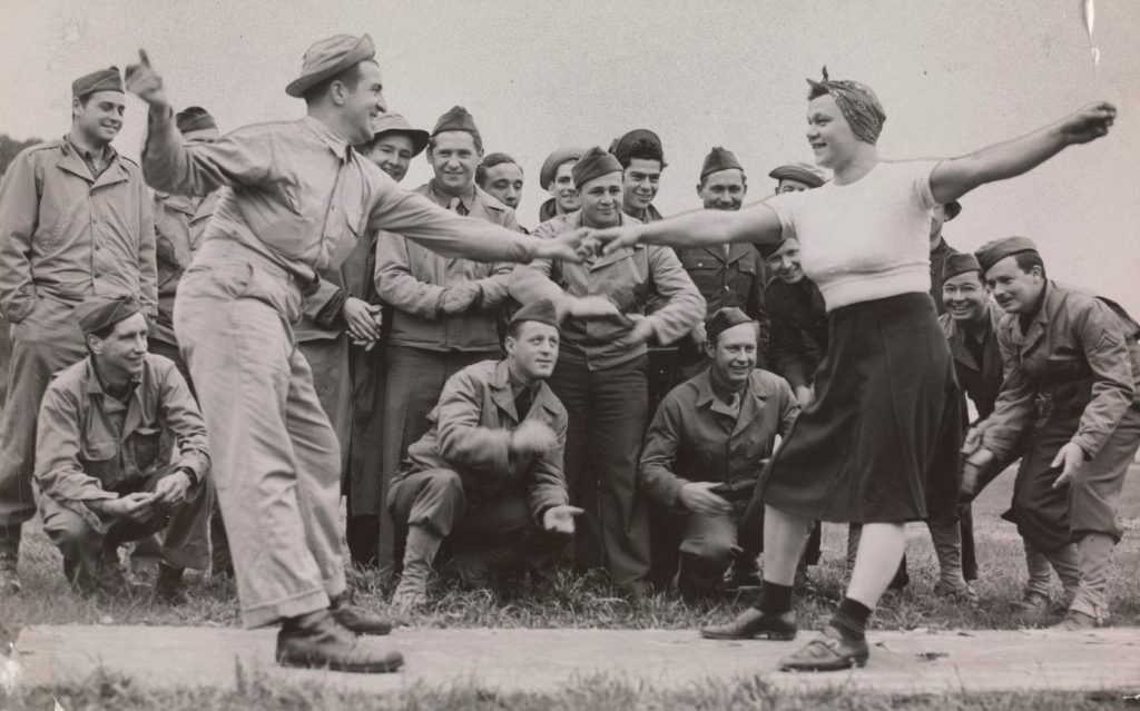 Dancing partners, Pte Anthony Curraro (N.Y.) and Pte Stephen Jaskolowski (New Jersey) doing the Jitterbug at Camp Pell