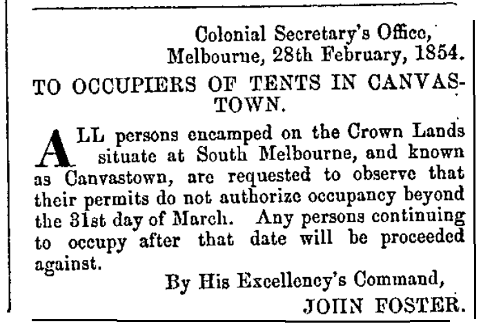 Notice from Victorian Government Gazette to occupiers of Canvas Town
