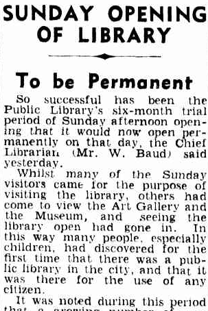 Newspaper headline reads 'Sunday opening of Library to be permanent'