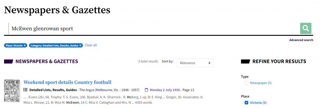 Screenshot of searching Trove's newspapers and Gazettes with the keywords McEwen glenrowan and sport.