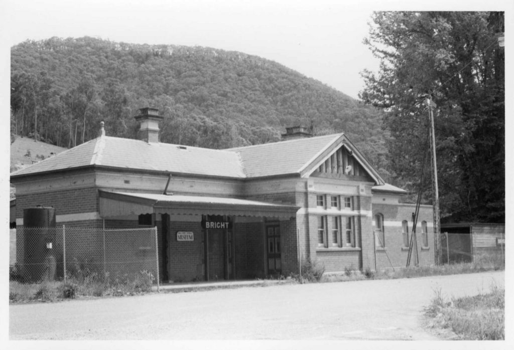 Black and white photograph of Bright Historical Museum, which was once a railway station