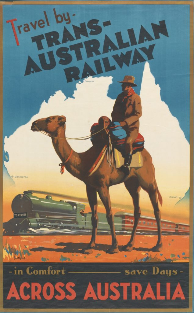 Man on camel in desert with train in background. Signed in the image l.l.: Northfield.