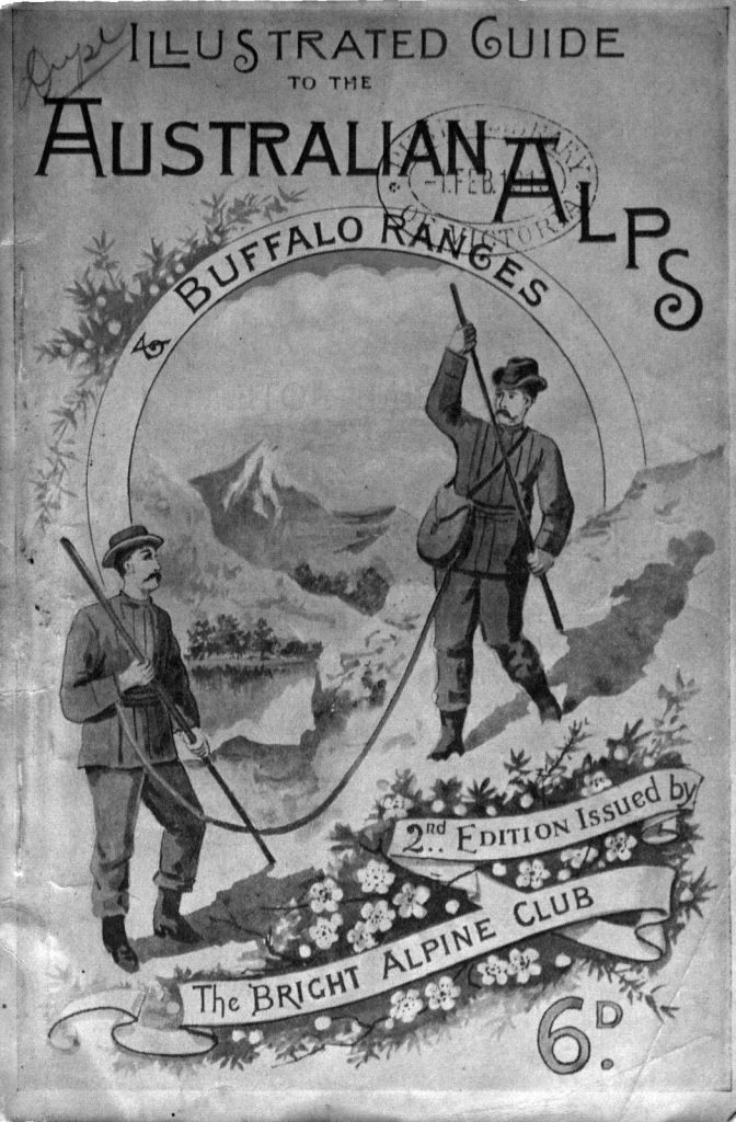 Cover of the Illustrated Guide to the Australian Alps, 2nd edition, showing a black and white illustration of two men hiking