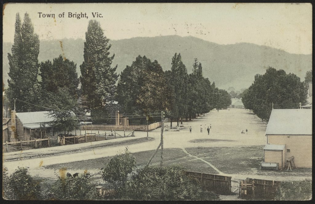 Printed colour postcard showing a streetscape in bright, including buildings, trees and people standing in the streets, with mountains in the background