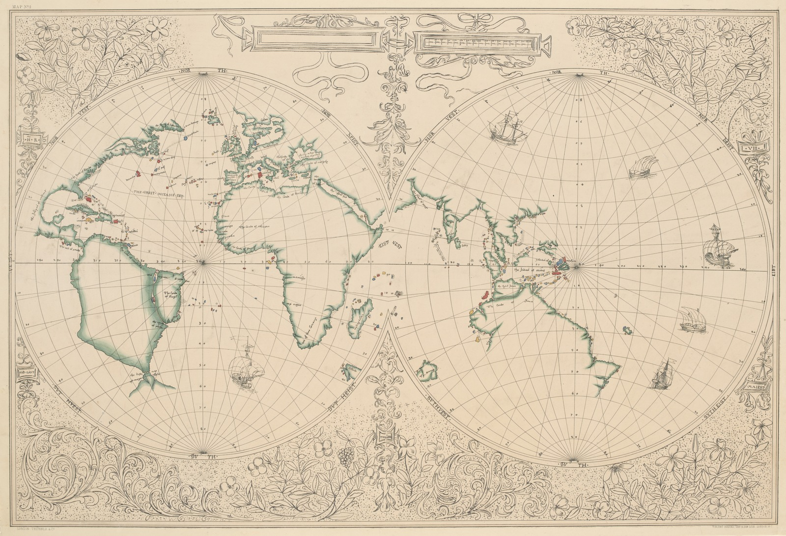 Old map of western and eastern hemispheres of the world