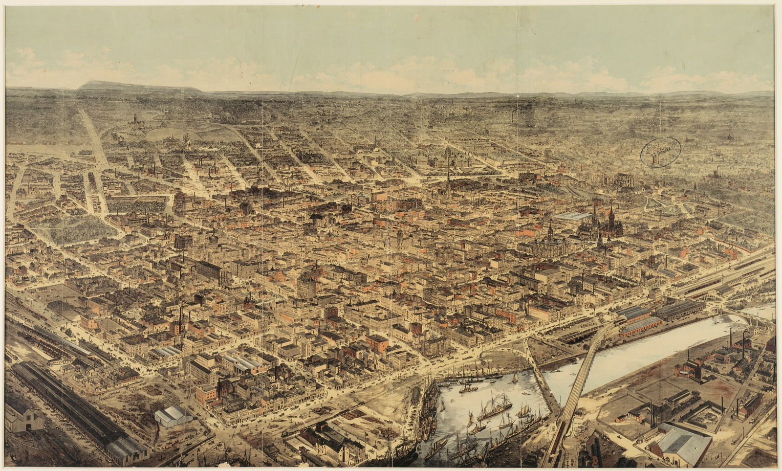 A bird's eye view of Melbourne in 1882