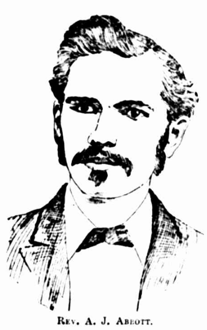 Black and white drawing of Rev. A. J. Abbott