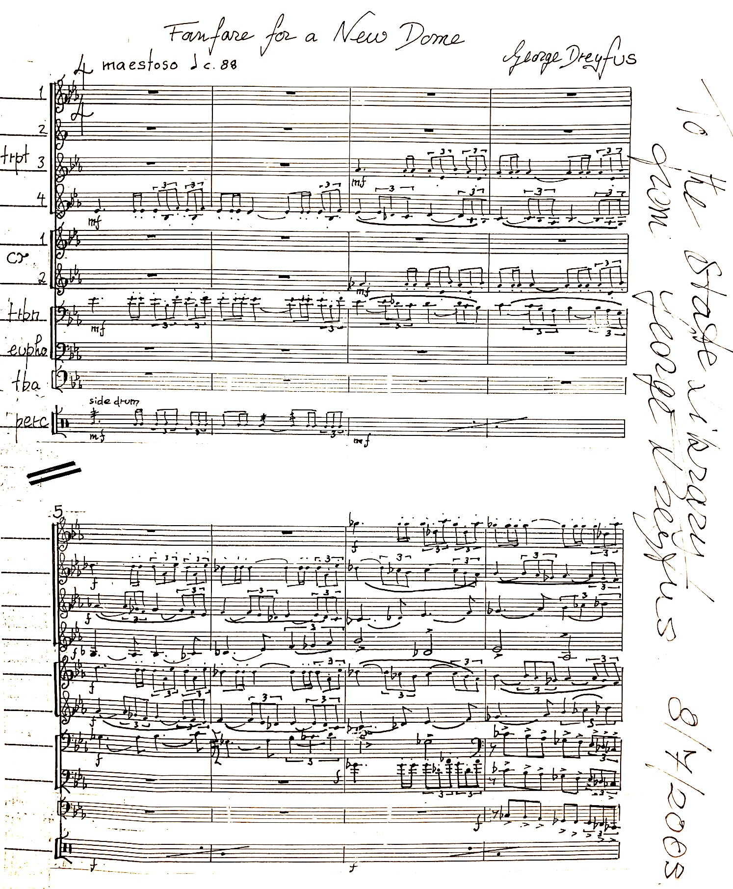 First page of music score 'Fanfare for a new dome'