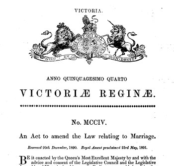 Picture of decorative title of Marriage Act 1890