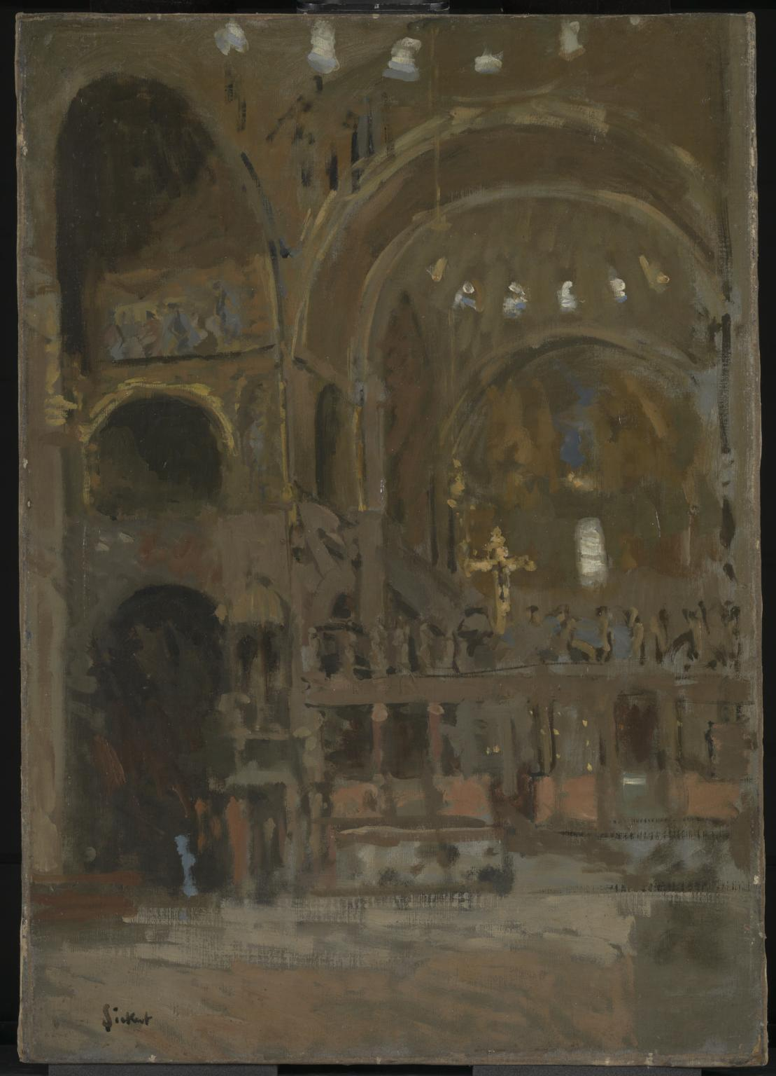 Painting of interior of St Mark's, Venice