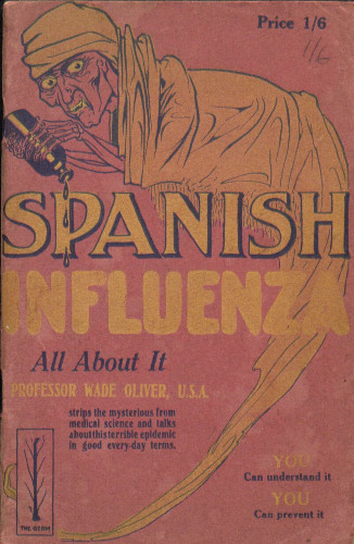 Colour illustration of grim reaper with headline reading 'Spanish Unfluenza'