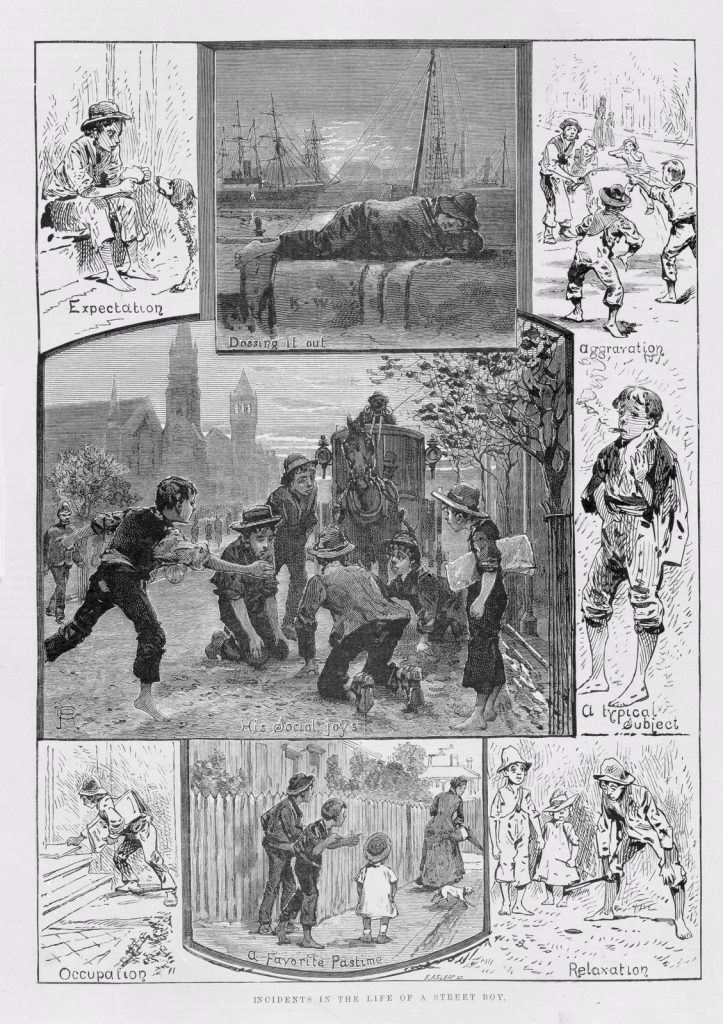 Illustration depicting life of boys on the streets in 1880s Melbourne