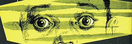 """Image of young boys eyes from the cover of the """"Seduction of the Innocent"""", by Fredrick Wertham."""