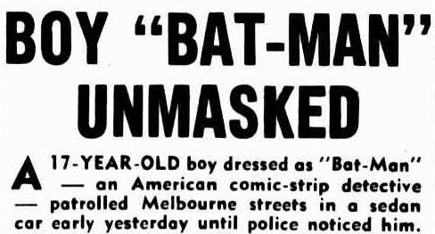 """Press clipping from The Argus with the title, 'Boy """"Bat-Man"""" unmasked""""."""