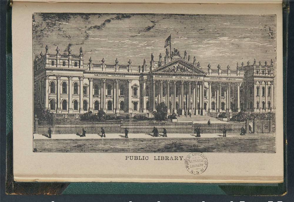 Illustration of the front of the Melbourne Public Library building.