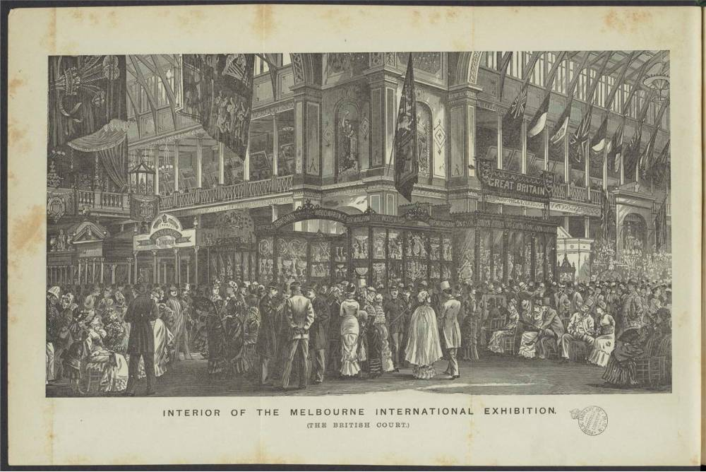 Illustration of Interior of the Melbourne International Exhibition showing a crowd gathered in the British Court.