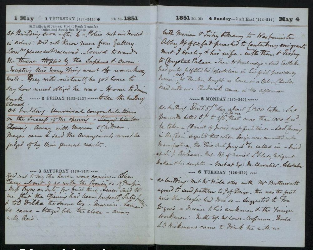 Image of Henry Cole's diary entries from May 1 to May 6, 1851